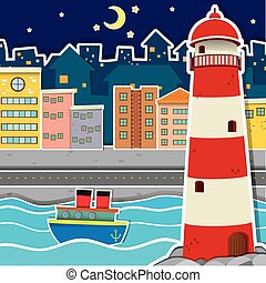 City scene with lighthouse and river at night