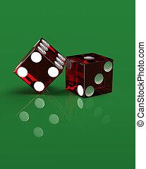 derecho, verde, dados, De manos,  casino