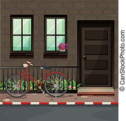 Bicycle parking in front of the house