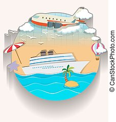 Travel theme with cruise and airplane