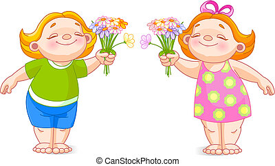 Two babies with bouquets - The vector image of cute babies...