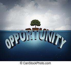 Unknown Opportunity - Unknown opportunity concept as three...