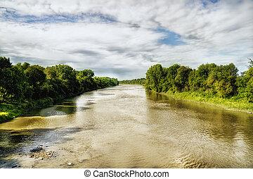 Ottawa river - Ottawa River in summer . Ottawa, Canada. HDR...
