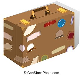 Luggage with stickers on it illustration