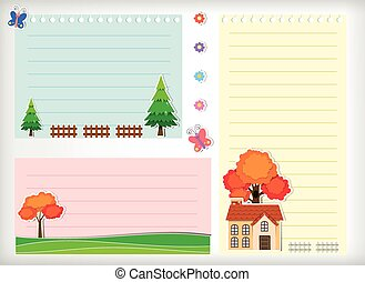 Line paper design with house and tree