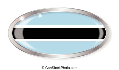 Botswana Flag Oval Button - Oval silver button with the...