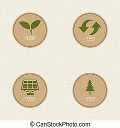 Sustainability - abstract sustainability labels on a white...