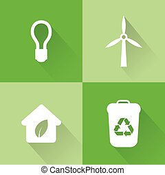 Sustainability - abstract sustainability icons on a green...