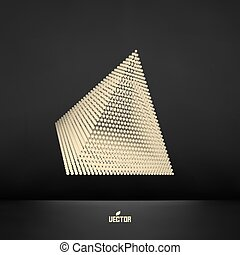 Pyramid. Connection structure. Vector 3D illustration.