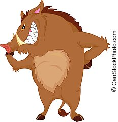 angry warthog cartoon - vector illustration of angry warthog...