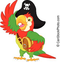 pirate parrot cartoon - vector illustration of pirate parrot...
