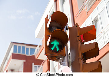 Traffic lights with the green light