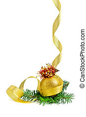 Christmas border or frame of gold ribbon, yellow glass...