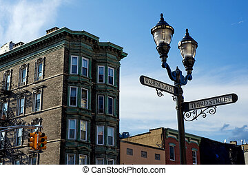 Hoboken downtown - Corner of Washington and Third streets in...