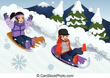 Children Playing Sledding - A vector illustration of...