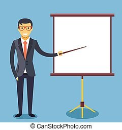 Businessman and presentation board - Happy businessman with...