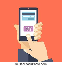 Mobile payment Flat illustration - Mobile payment Hand holds...