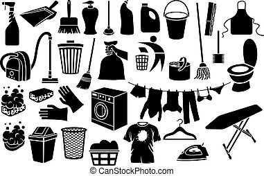 cleaning icons collection - cleaning icons bucket, plunger,...