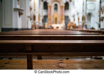 Altea pew - A pew in a church in Altea in Spain.