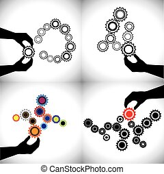 vector conceptual icons of gears together these cogwheels...