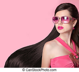 Beauty fashion model girl in sunglasses - Hair. Beautiful...