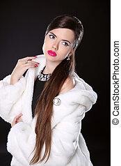 Beauty Fashion Model Girl in white Mink Fur Coat