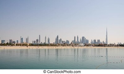 Skyline of Dubai city, highrise buildings in the Sheikh...