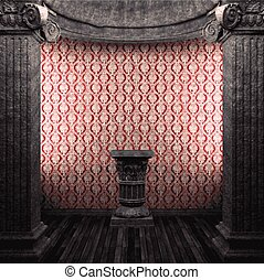 vector stone columns, pedestal and wallpaper