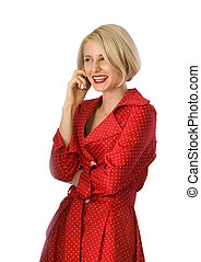 attractive young woman calling by cellular phone.