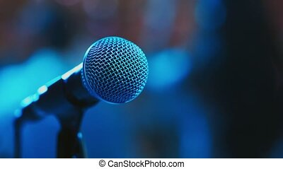 microphone on stage - microphone on the background of...