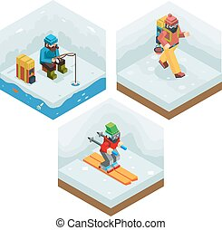 Winter Activity Vacation Icons Set Journey Ski Ice Fishing...