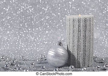 Christmas candle - Beautiful christmas candle on silver...