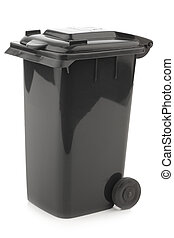 black garbage can isolated on white background