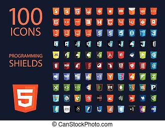 vector collection of web development shield signs, one...