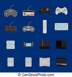 pixel art game design icon set - console, gamepad, portable console