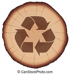 Wood Recycling Symbol Tree Trunk - Recycling symbol on a...