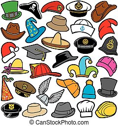 seamless pattern with different hats sailor cap, military...