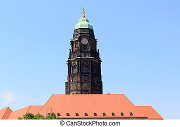 Town hall tower with golden Rathausmann in Dresden, Germany