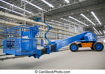 blue boom lift perspective indoor - The atmosphere indoor of...