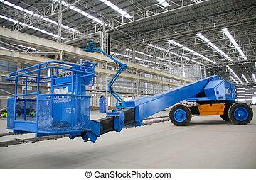 blue boom lift perspective indoor - The atmosphere indoor of...