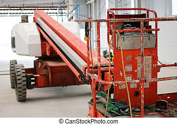 bucket part boom lift - The atmosphere indoor of heavy...