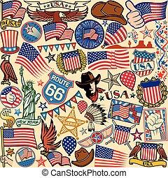 símbolos, patrón, estados unidos de américa,  seamless, Plano de fondo