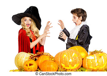 develry pair - Boy and girl teenagers wearing halloween...
