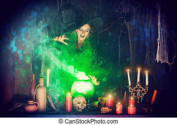 magic poison - Attractive witch conjures in the wizarding...