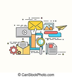 Vector modern flat design of email marketing - Vector modern...