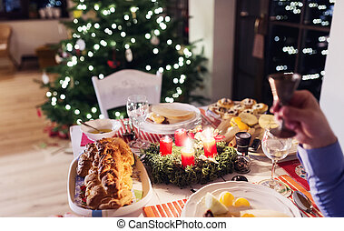 Christmas meal on a table - Chrismas meal laid on a table in...