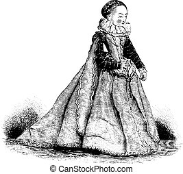 Doll of the sixteenth century, vintage engraving.