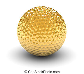 Goloden Golf Ball - Golden golf ball isolated on a white...