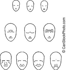 Expressions of the face, vintage engraving. - Expressions of...