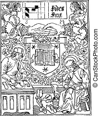 Press mark of Guyot Marchant, bookstore, from 1483-1502, vintage engraving.